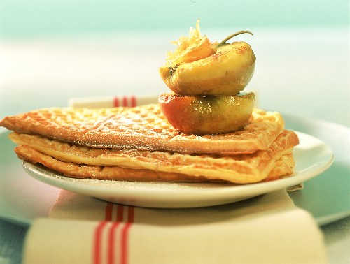Sour cream waffles with cinnamon apples