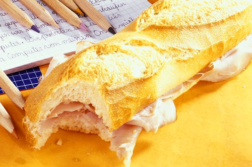 Ham baguette for packed lunch