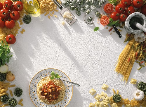 Still life with noodles and ingredients