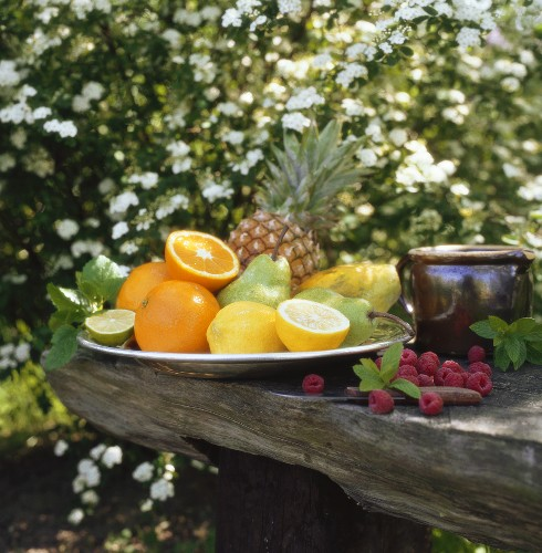 Plate of fruit (outdoors)