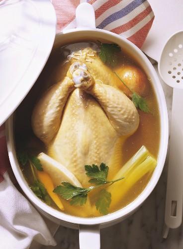 Stuffed Chicken in Bouillon