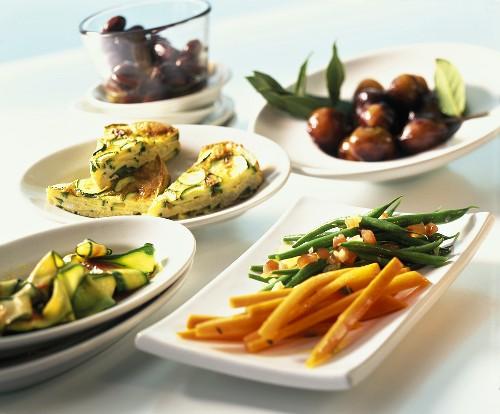 Various vegetable appetisers