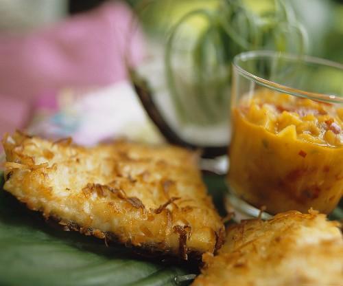 Caribbean catfish with coconut crust and mango salsa