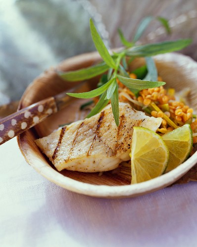 Grilled catfish on red lentils