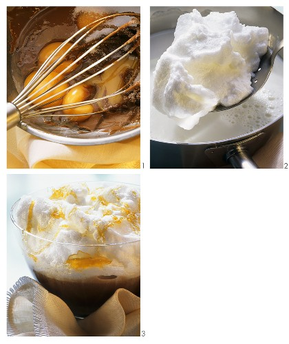 Making chocolate pudding with meringue topping & caramel - main image 169376