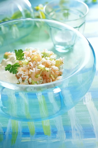 Shrimp salad with cucumber and rice, dressing