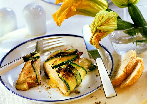 Stuffed chicken breast wrapped in Tilsit cheese & courgette