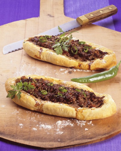 Turkish pastry boats (Pide) with mince
