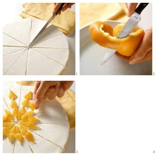 Making orange cream sponge gateau