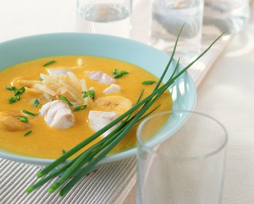 Curried fish soup with bananas