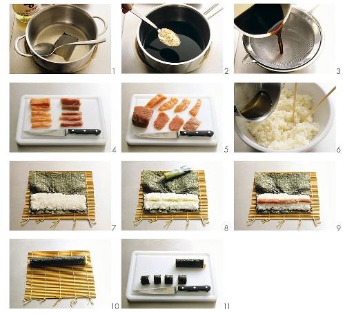 Preparing maki-sushi and nigiri-sushi