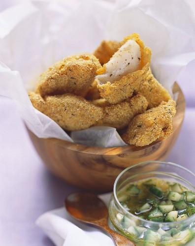 Deep-fried catfish fillets with cucumber salsa