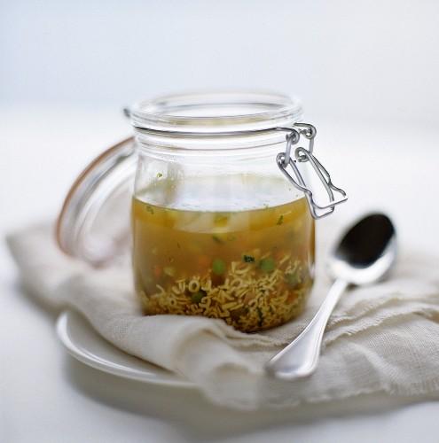 Alphabet soup in a lockable jar
