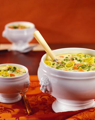 Polenta soup with vegetables