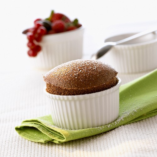 Chocolate soufflé in small moulds