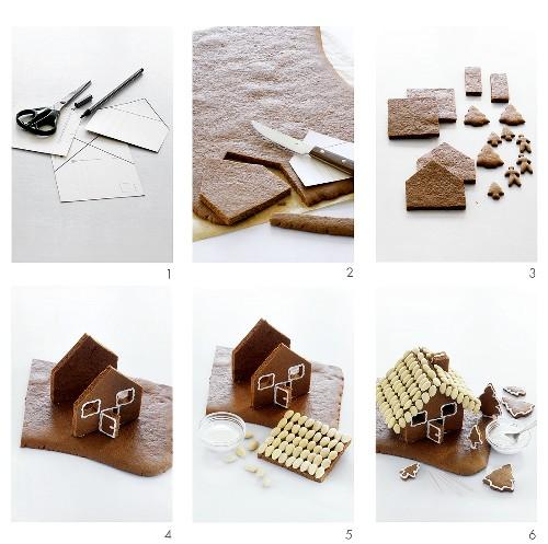 Assembling a gingerbread house
