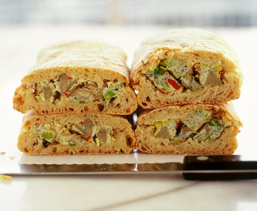 Wholemeal ciabatta with vegetable quiche filling