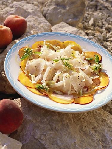 Salad de lotte aux pêches (monkfish salad with peaches)