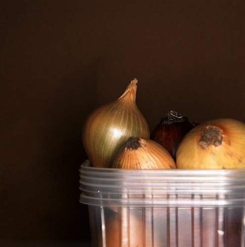 Onions in a pile of plastic containers