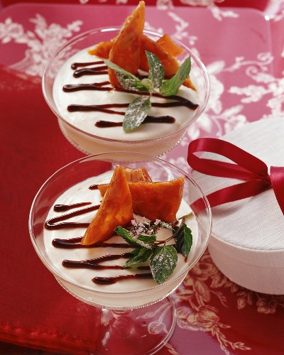 Curd cheese dessert with plum puree