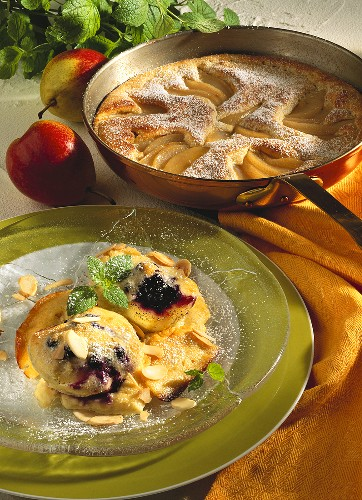 Pears with soufflé topping & vanilla apple pudding with almonds