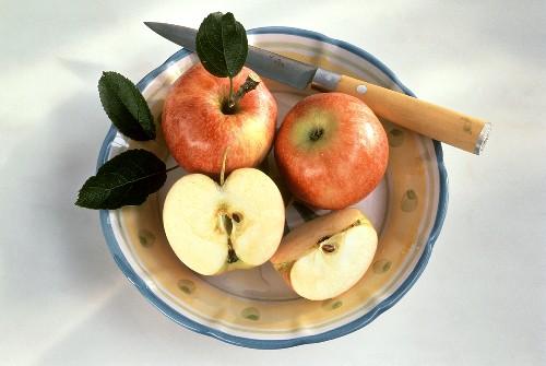 Gala Apples; One Cut in Half