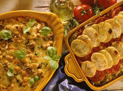 Chick pea & vegetable casserole and potato & cabbage gratin