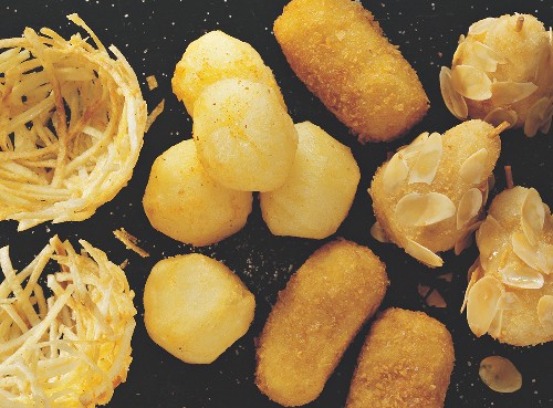 Potato nests, deep-fried potatoes and croquettes