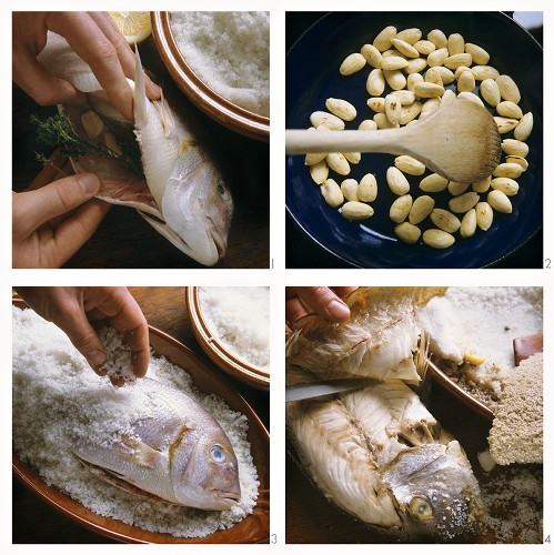 Preparing gilthead bream in salt crust with almonds