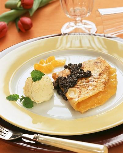 Apricot pancake with poppy seed sauce & vanilla ice cream