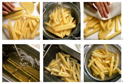 Cooking potatoes in deep fat (making chips)