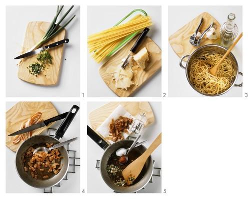 Making spaghetti with marsala sauce