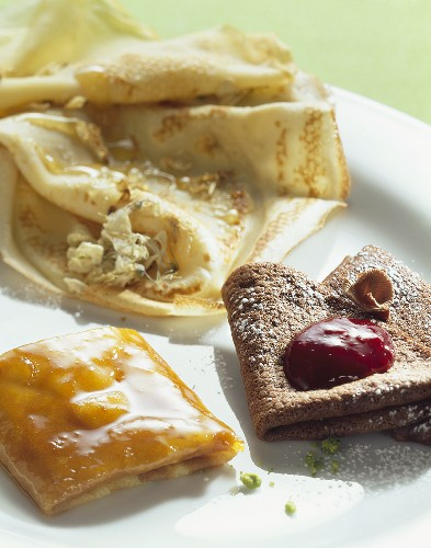 Orange-, chocolate-, acacia blossom crepes, crepes normandes