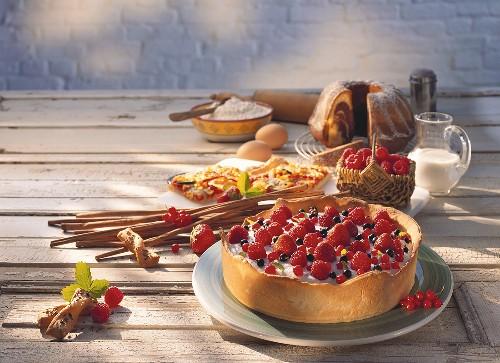 Yoghurt cake with berries; gugelhupf; raspberries; cinnamon