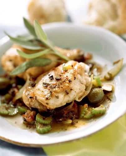 Pollo alla lucana (Chicken legs in spicy sauce)