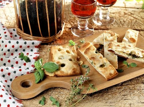 Focaccia con formaggio (flatbread with cheese filling, Italy)