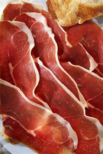 Thinly sliced Ardennes ham