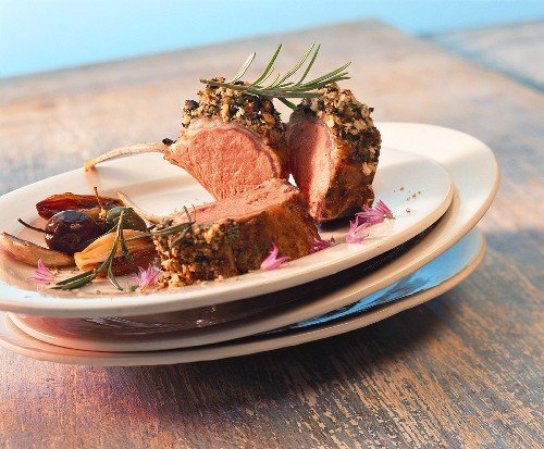 Saddle of lamb with olive and herb crust and rosemary