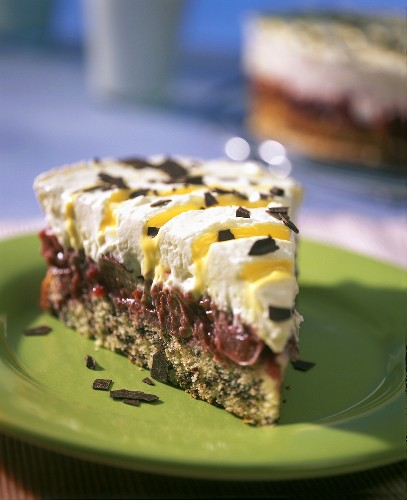 Piece of advocaat and cherry gateau with grated chocolate