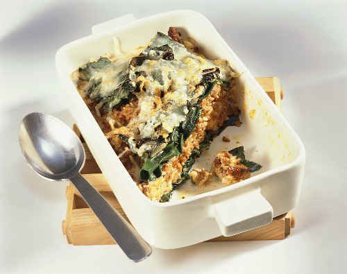 Chard and rice bake with mince in baking dish