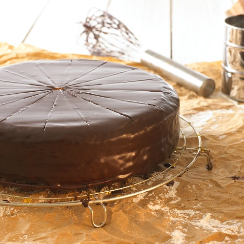 Sacher torte on cake rack