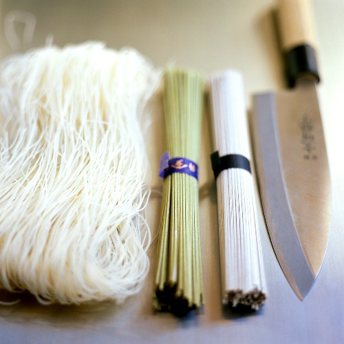 Japanese noodles and knife