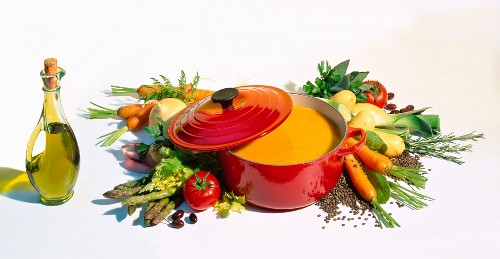 A Pot of Vegetable Cream Soup with Ingredients