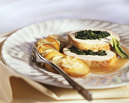 Arrosto di maiale alla fiorentina (pork with spinach stuffing)