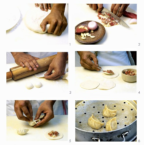 Making momos (Steamed dumplings with meat filling)