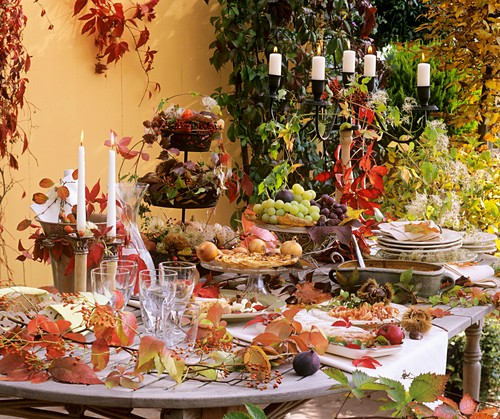 Autumnal table in open air