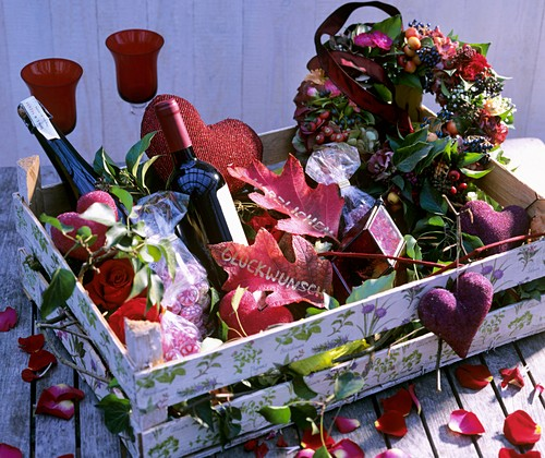 Fruit crate decorated as gift basket