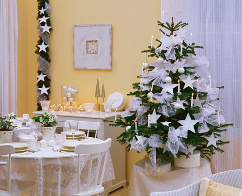 Room with white Christmas decorations