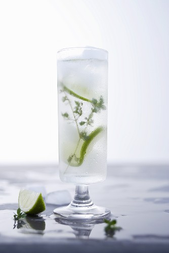 Vodka and lemonade drink with thyme