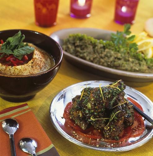 Lebanese dishes:jawaneh, hummus and baba ganoush
